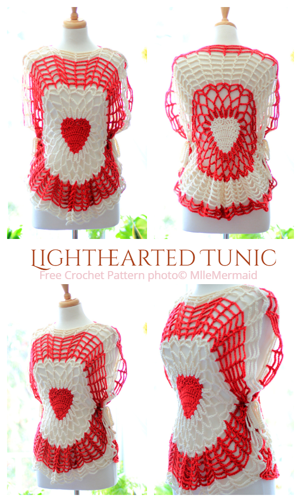 Valentine Lace Lighthearted Tunic Top Free Crochet Patterns