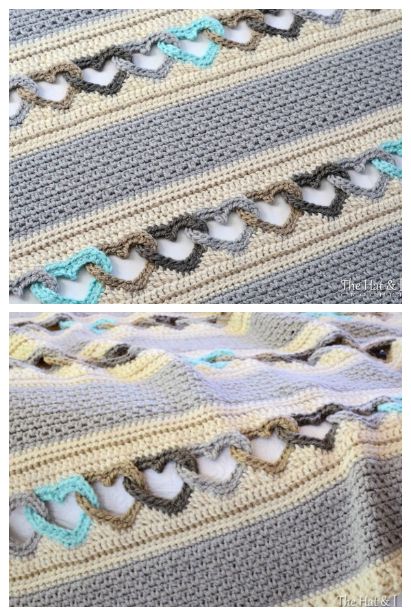 Linked Heart Blanket Crochet Patterns