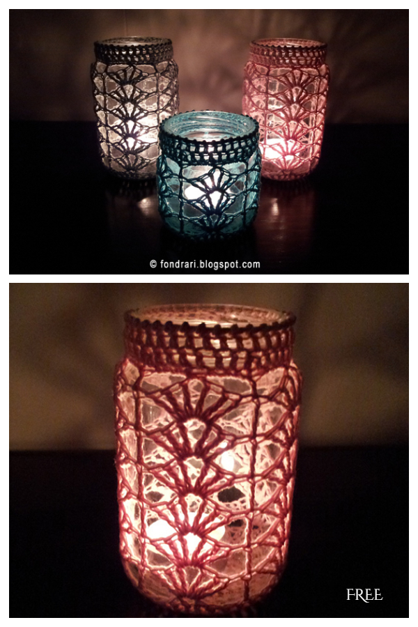 Shell Lace Mason Jar Cozy Free Crochet Patterns