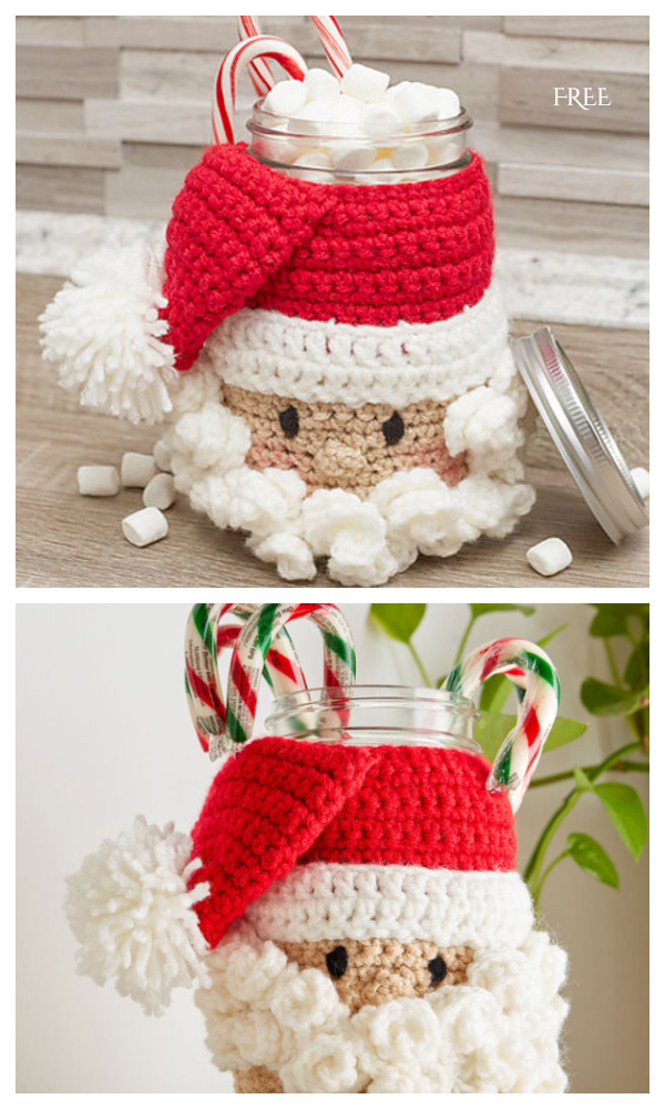 Santa Candy Jar  Cozy Free Crochet Patterns