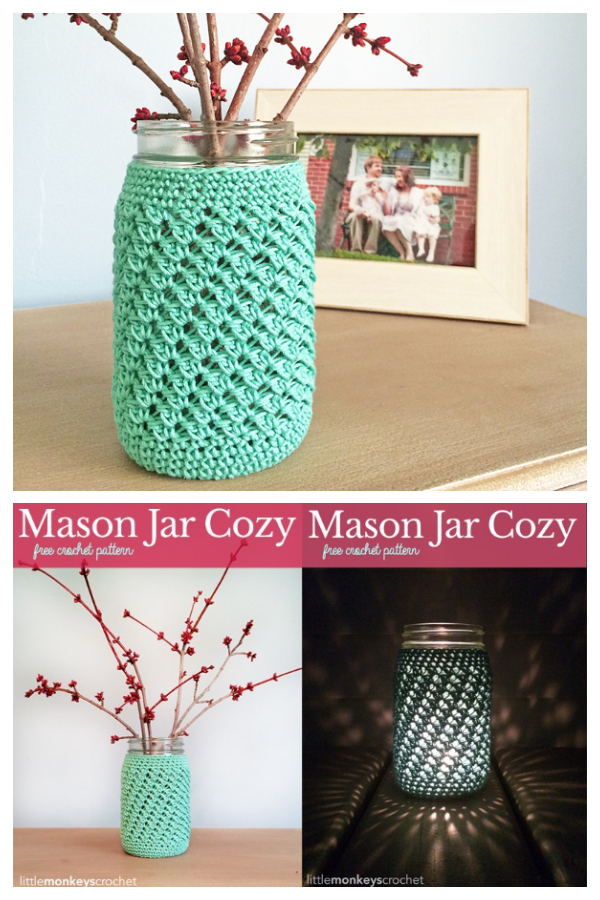 Mason Jar Cozy Free Crochet Patterns