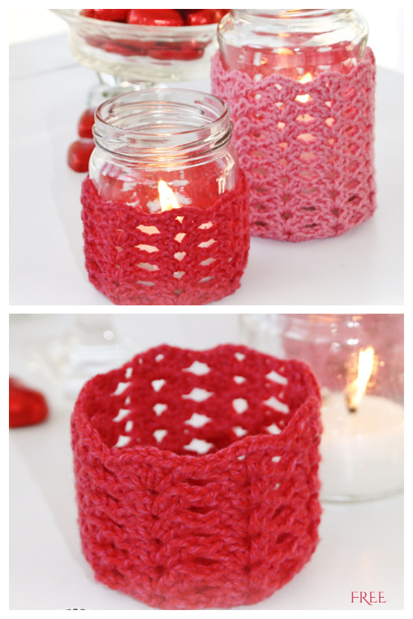 Love Spell Mason Jar Cozy Free Crochet Patterns