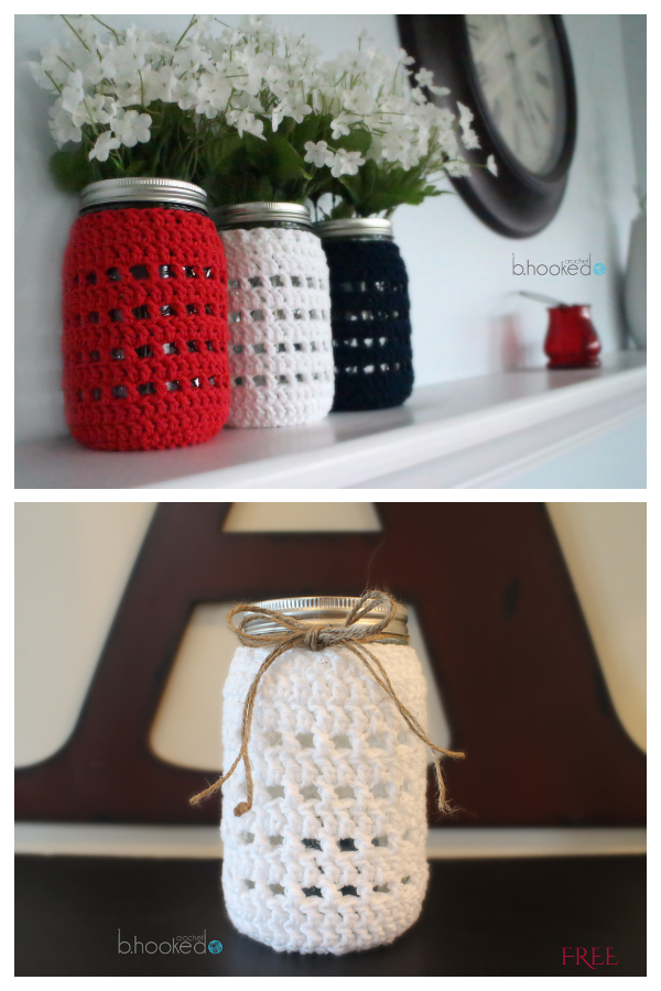 Modern Mason Jar Cozy Free Crochet Patterns