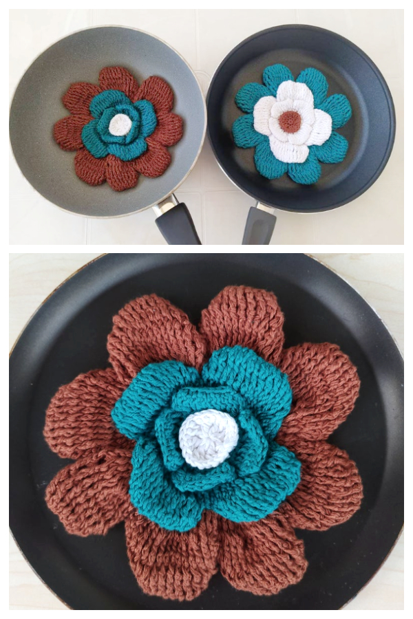 3D Flower Pan Protectors  Crochet Patterns