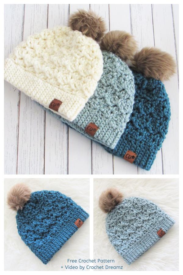 Simple Jenna Beanie Hat Free Crochet Pattern + Video