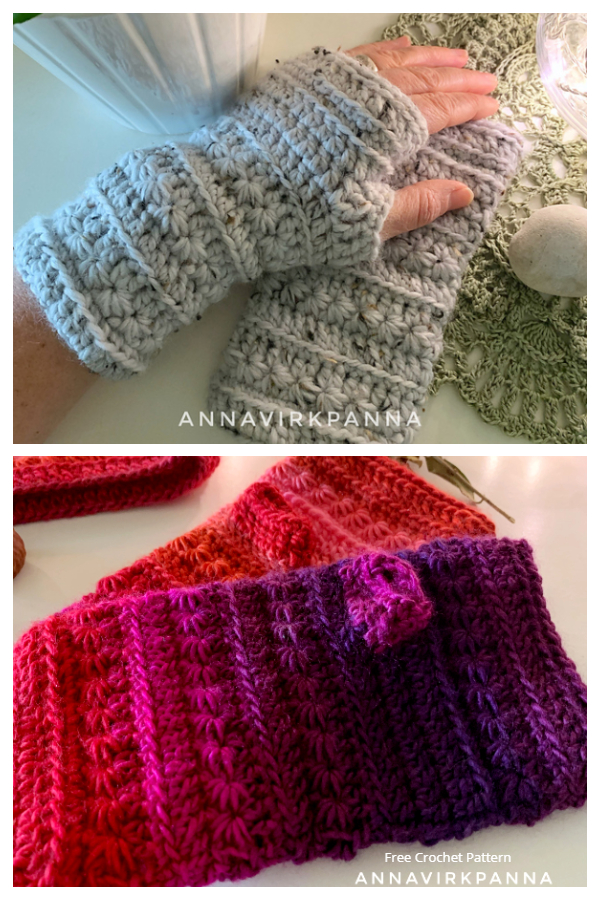 Winter Stars Fingerless Gloves Free Crochet Patterns