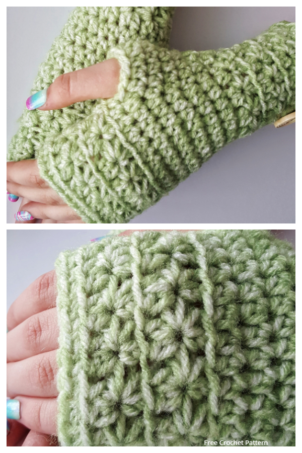 Star Stitch Fingerless Gloves Free Crochet Patterns