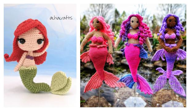 Crochet Mermaid Doll Amigurumi Free Patterns & Paid