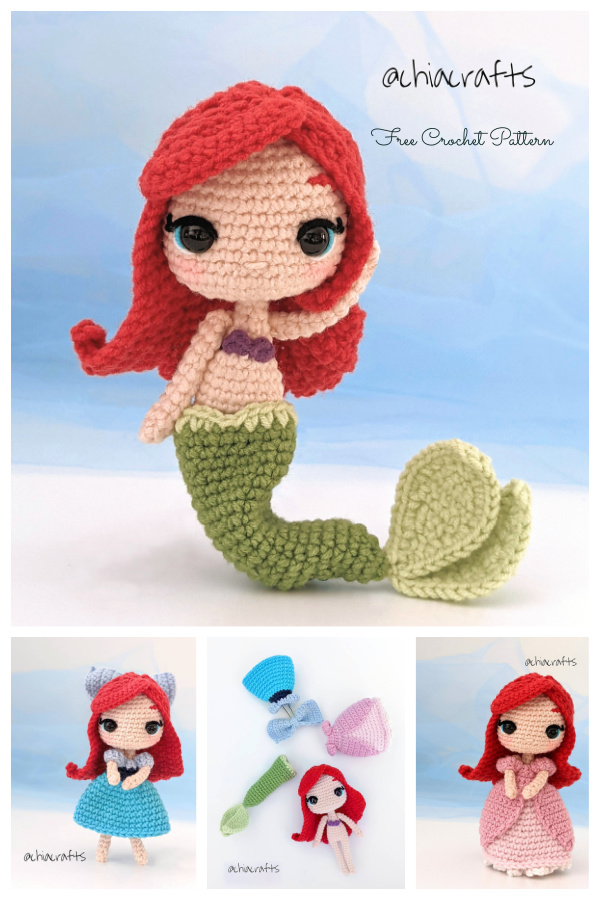 Crochet Little Mermaid Doll Amigurumi Free Patterns