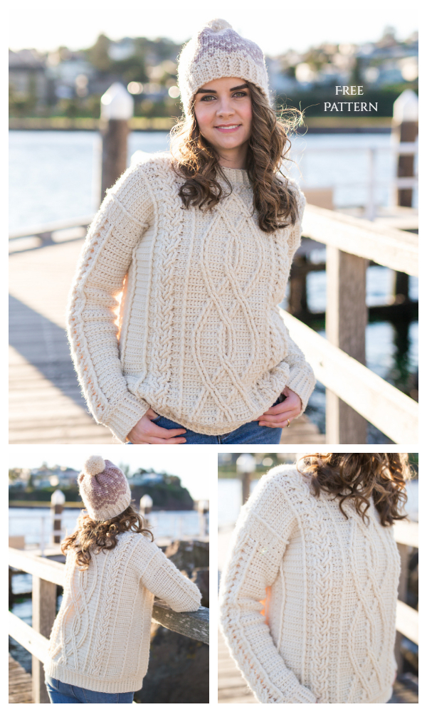 Meara Fisherman Cable Stitch Sweater Free Crochet Patterns