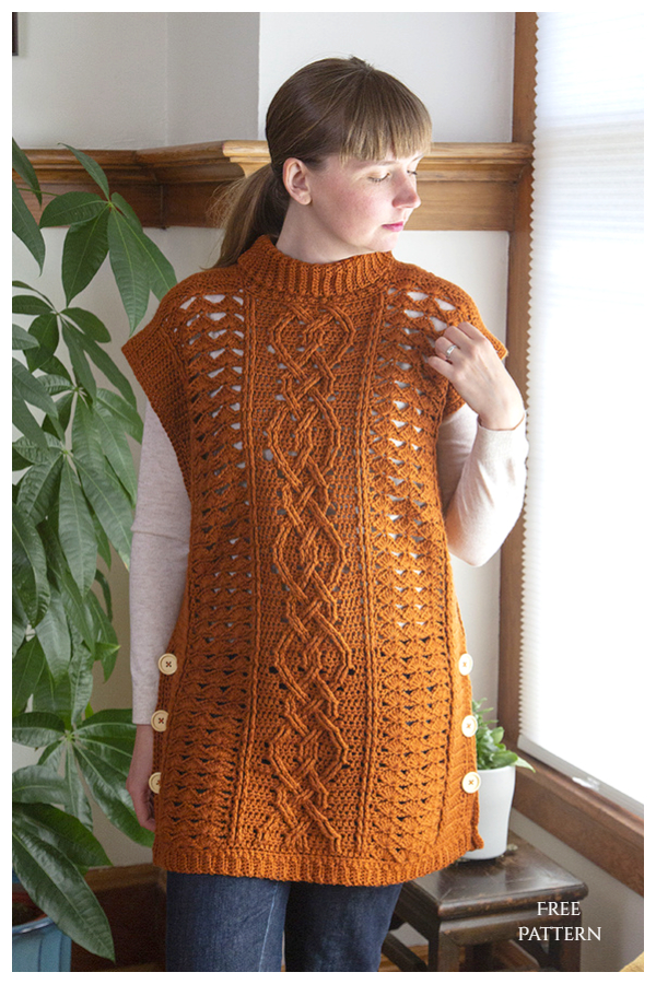 Midtown Mantle Mock-neck Cable Stitch Top Free Crochet Patterns