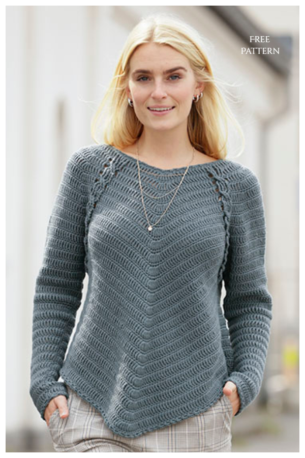 Day to date Cable Stitch Sweater Free Crochet Patterns