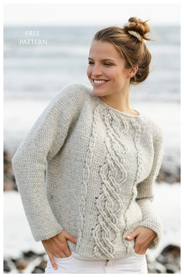 Graceful Cables Sweater Free Crochet Patterns
