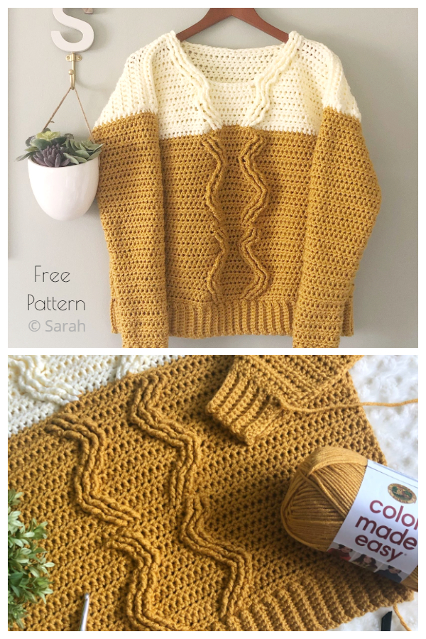Pineapple Crown Cable Stitch Sweater Free Crochet Patterns