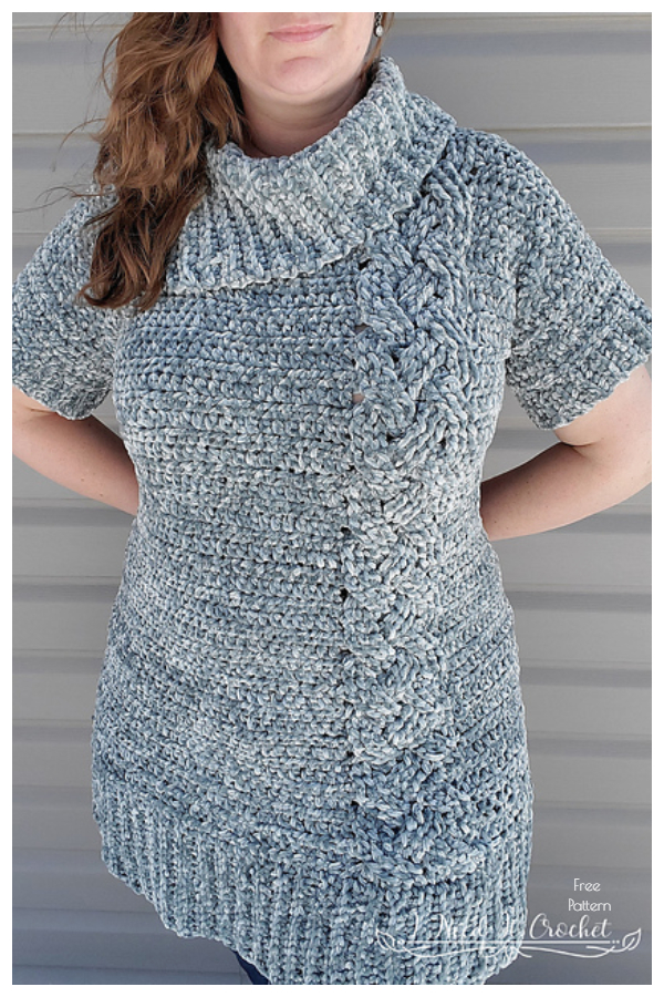 Cozy Cabled Sweater Dress Free Crochet Patterns