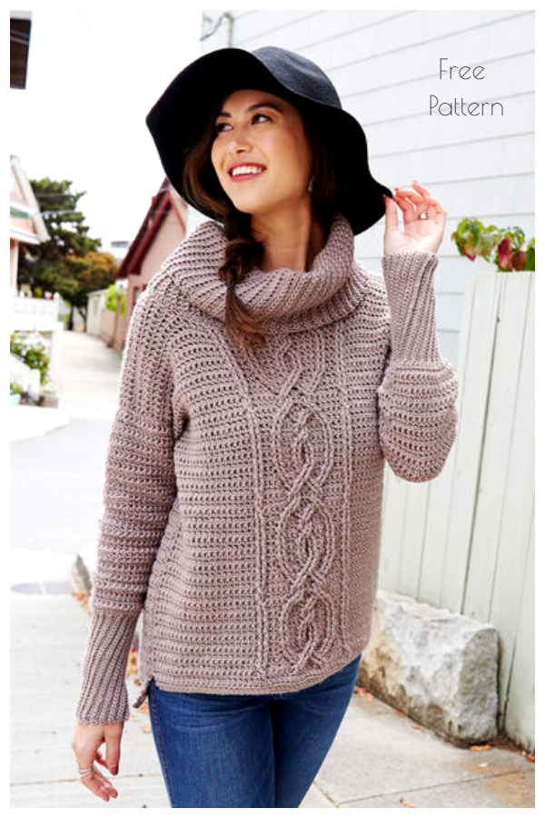 Entwined Chic Cable Sweater Free Crochet Patterns