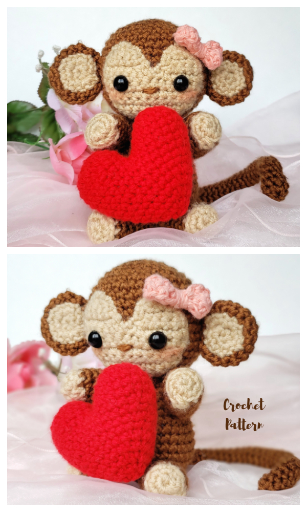 Crochet Valentine's Day Monkey Amigurumi Pattern