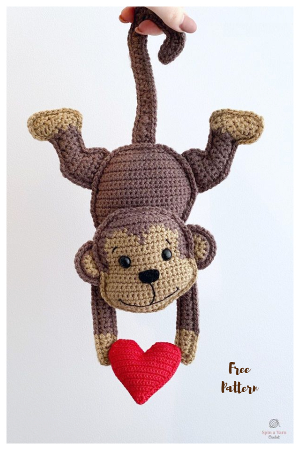 Crochet Valentine's Day Monkey Amigurumi Free Patterns