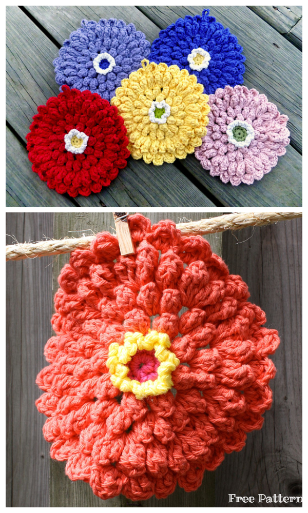 Zinnia Dishcloth Free Crochet Patterns