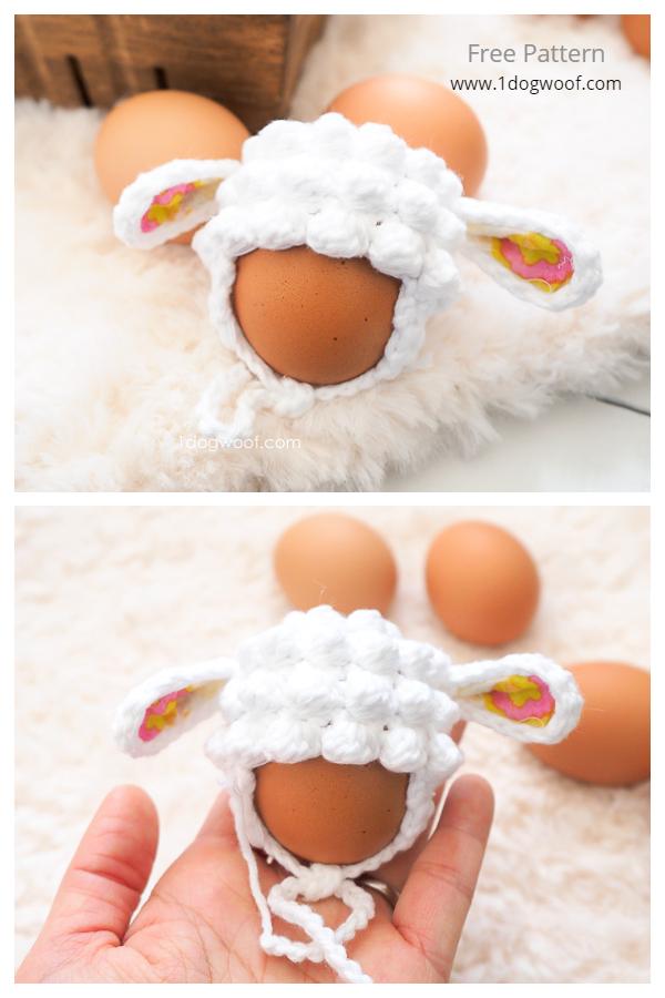 Fun Easter Egg Mini Lamb Hat Free Crochet Patterns
