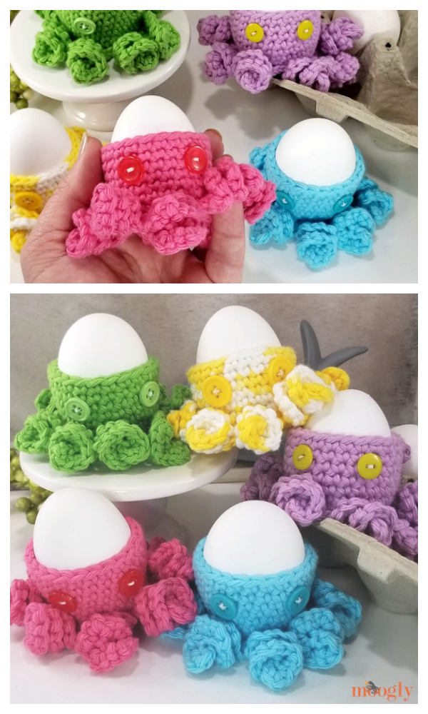 Fun Easter Octopus Egg Cozy Free Crochet Patterns