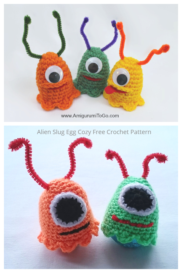 Fun Alien Slug Egg Cozy Free Crochet Patterns