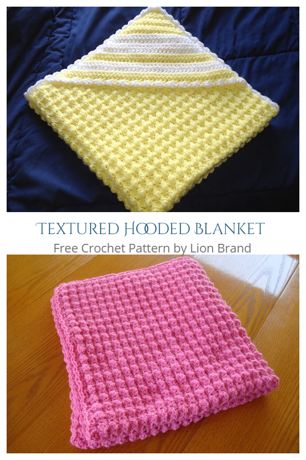 Textured Hooded Blanket Free Crochet Patterns