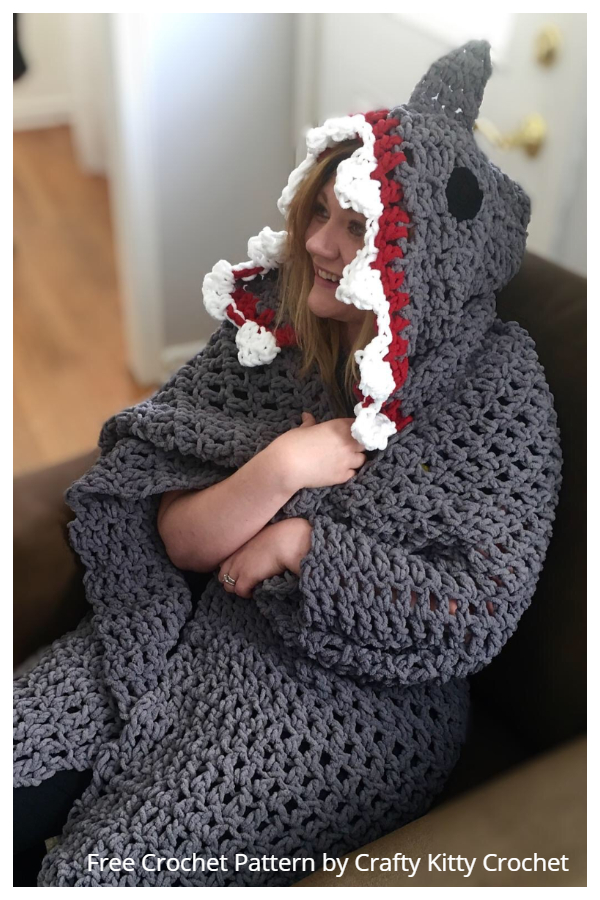 Shark Hooded Blanket Free Crochet Patterns