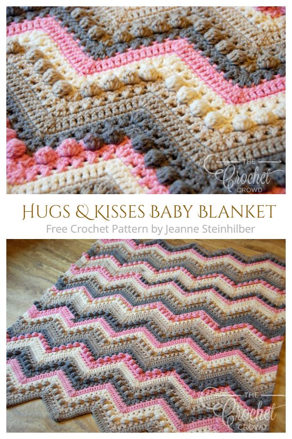 Hugs & Kisses Baby Blanket Free Crochet Pattern + Video