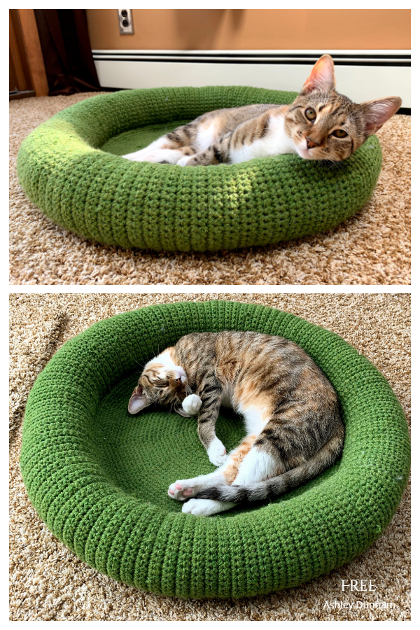 Tabby Chic Cat Bed Free Crochet Patterns