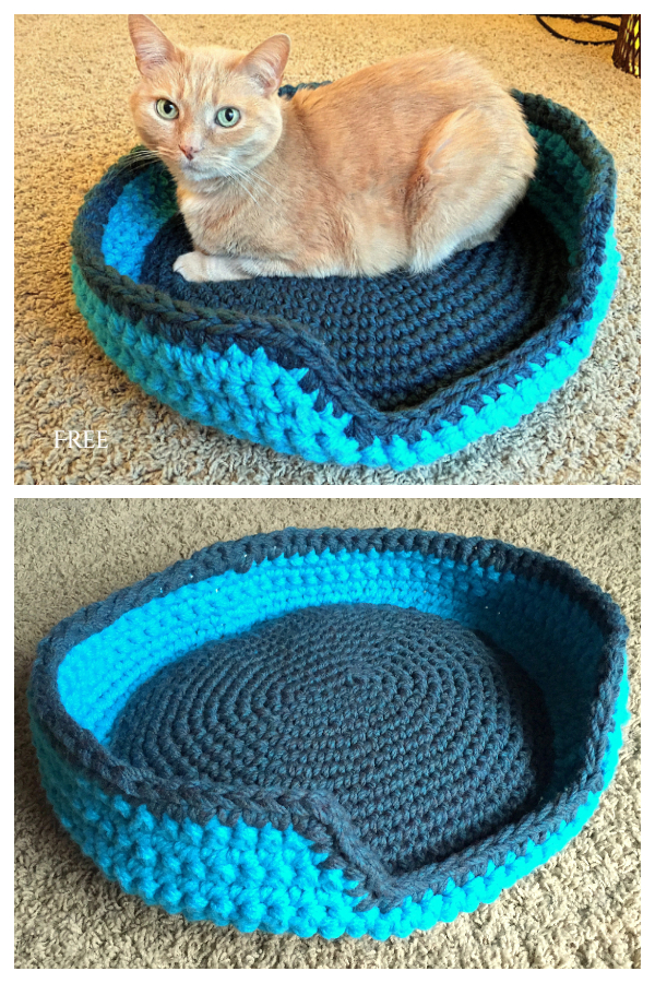 Sturdy & Comfy Cat Bed Free Crochet Patterns