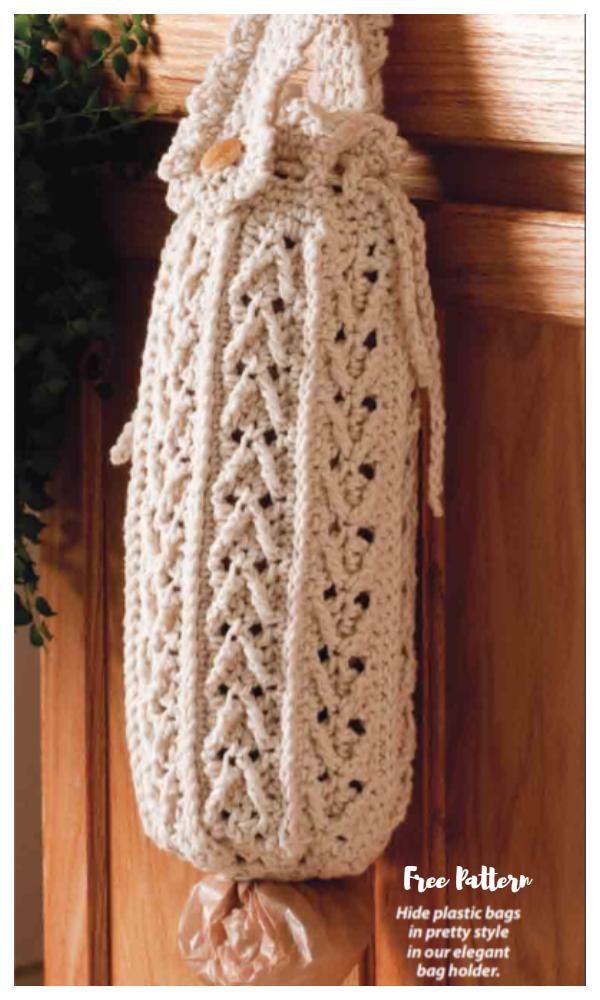 Cabled Plastic Bag Holder Free Crochet Patterns