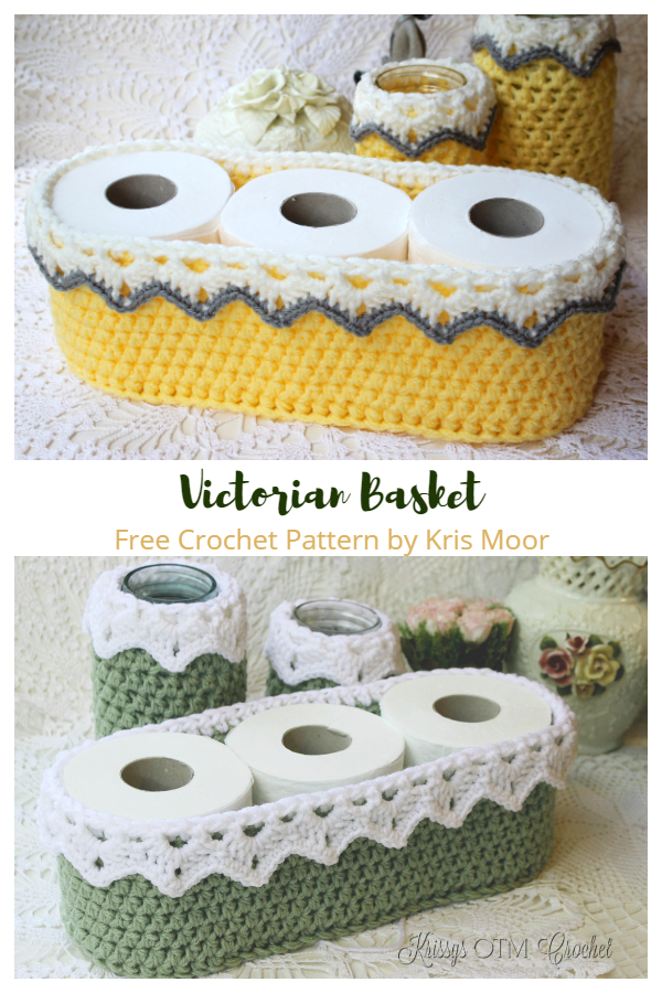 Toilet Paper Roll Victorian Basket Free Crochet Patterns