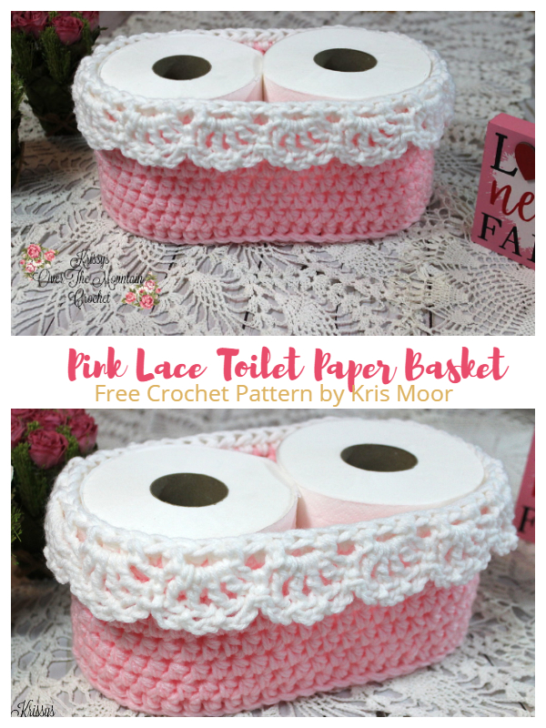 Pink Lace Toilet Paper Basket Free Crochet Patterns