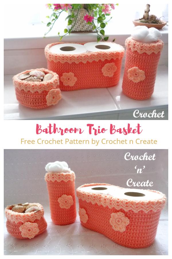 Bathroom Trio Toilet Paper Roll Basket Free Crochet Patterns
