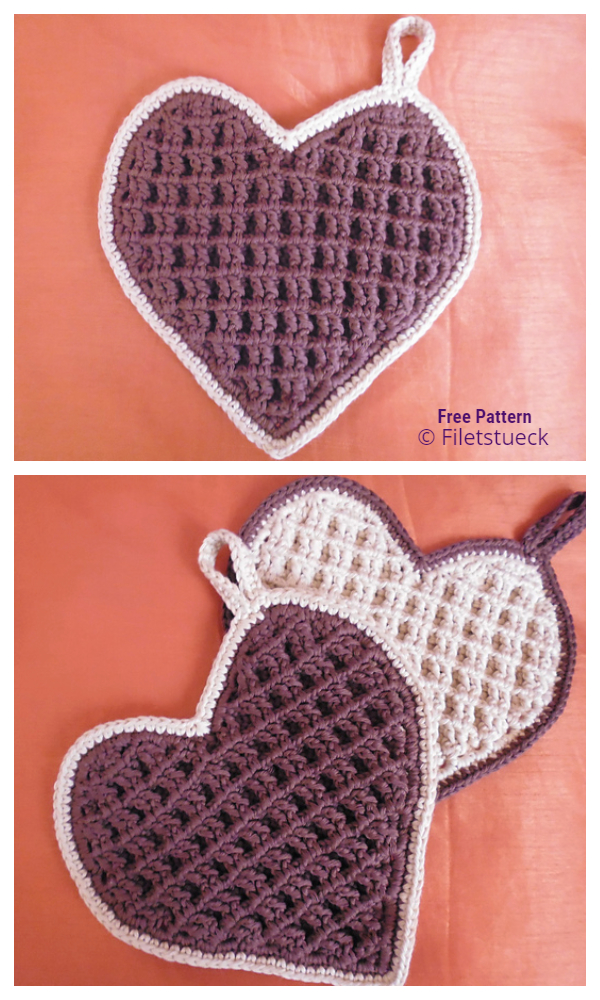 Waffle Heart Free Crochet Patterns