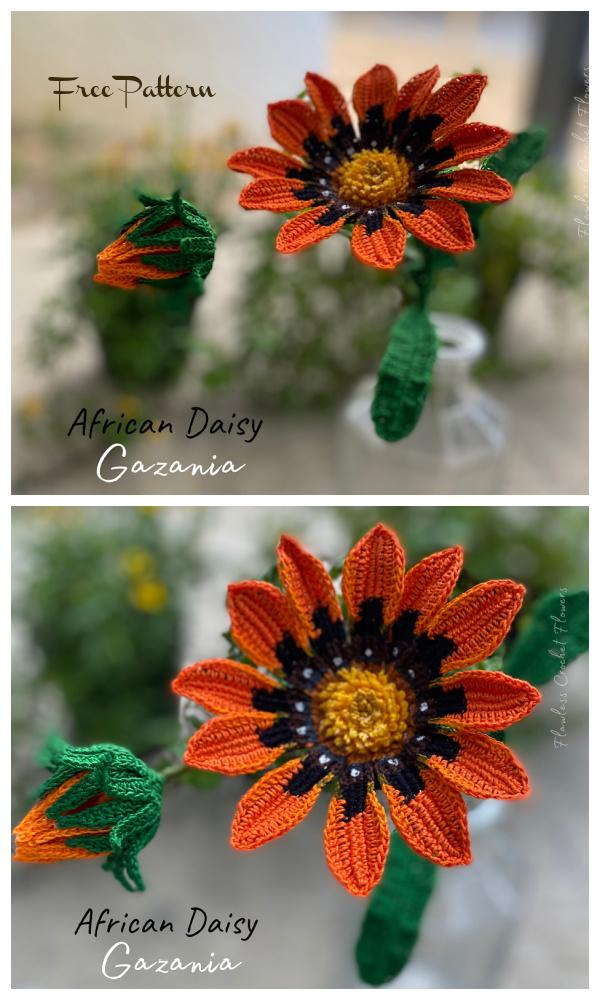 African Daisy Gazania Free Crochet Pattern