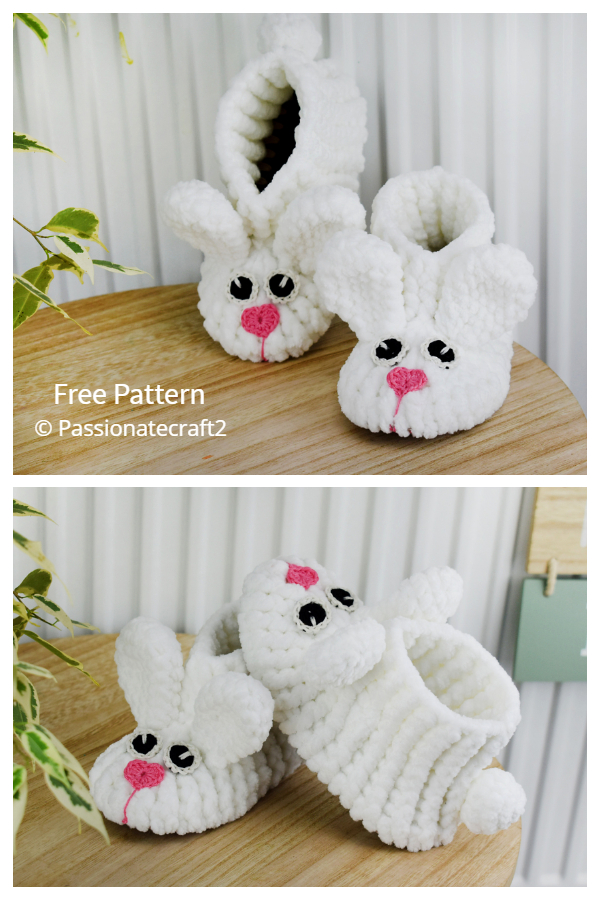 Easter Baby Velvet Bunny Booties Free Crochet Patterns