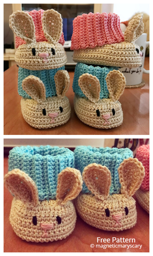 Easter Bunny Hat & Booties  Free Crochet Patterns