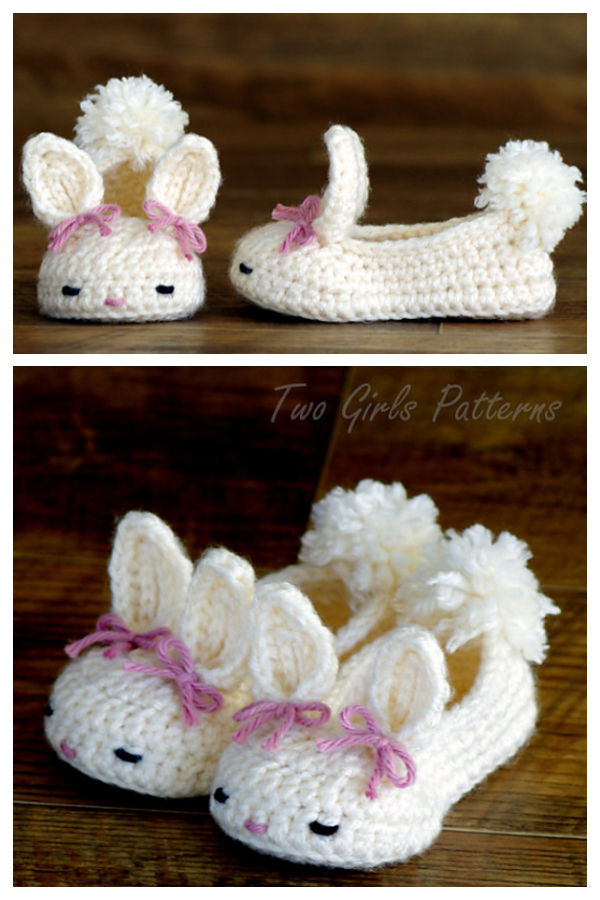Hoppy Baby Bunny House Slippers Crochet Patterns