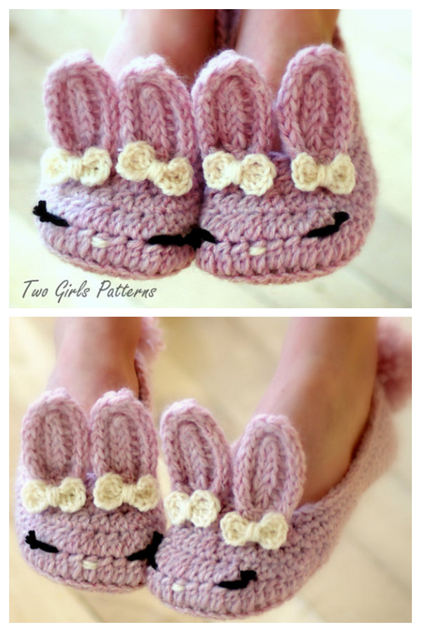 Youth Kids Bunny Booties Crochet Patterns