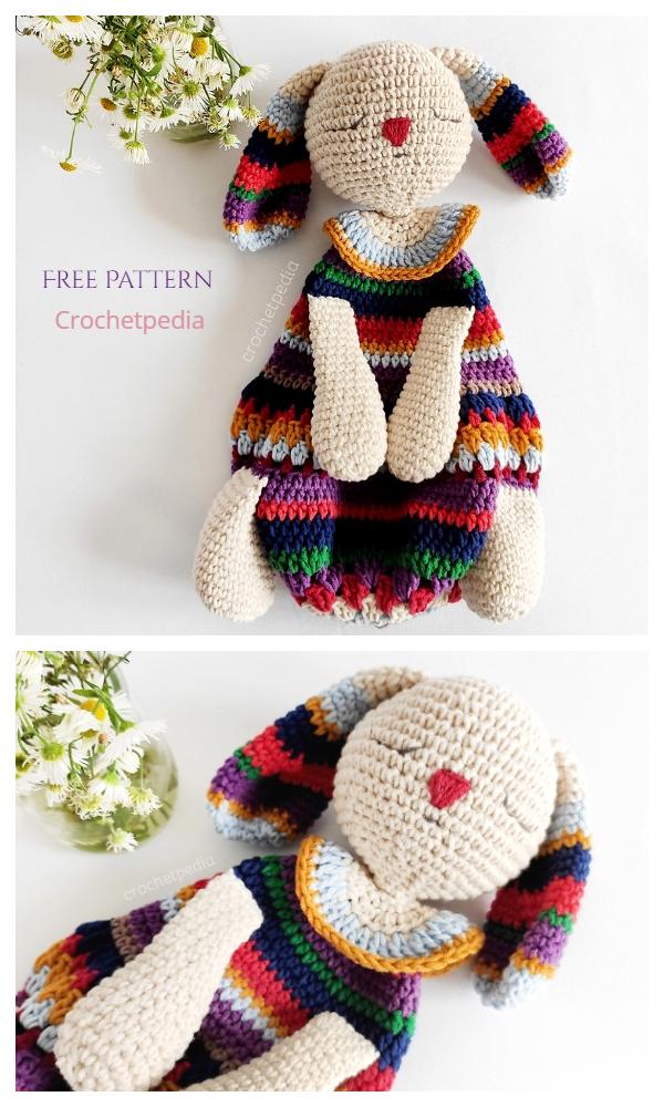 Striped Bunny Baby Lovey Free Crochet Patterns