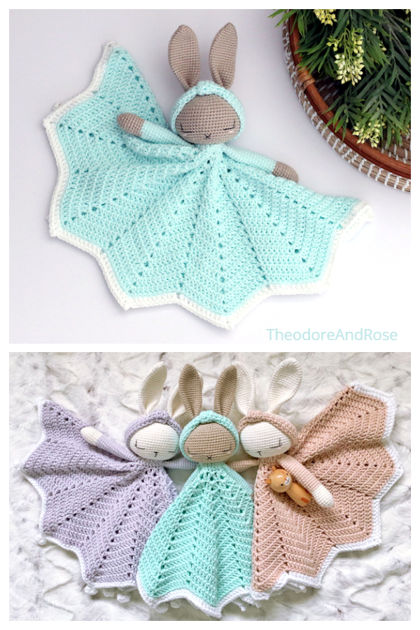 Hattie Bunny Security Blanket Crochet Patterns