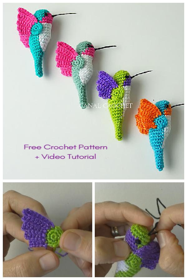 Crochet Hummingbird Bird Amigurumi Free Patterns + Video