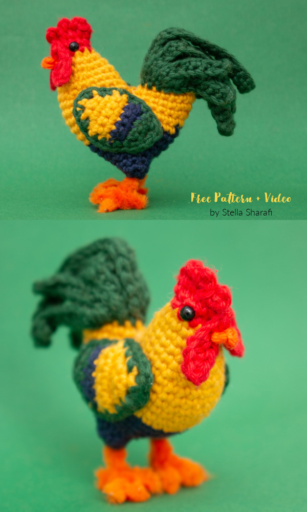 Crochet Little Rooster Amigurumi Free Patterns + Video