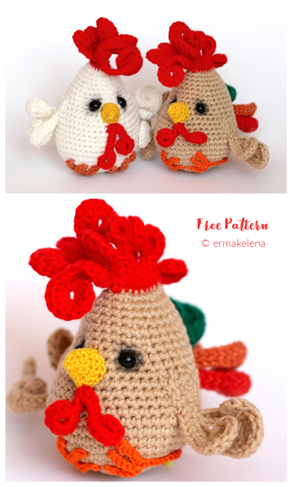 Crochet Funny Rooster Amigurumi Free Patterns