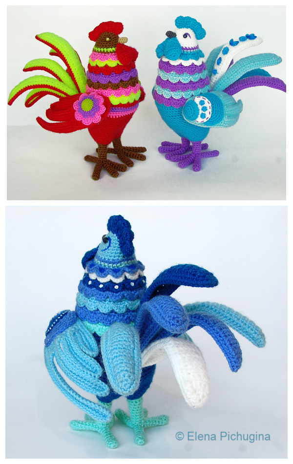 Crochet Bird Rooster Gordey Amigurumi  Patterns