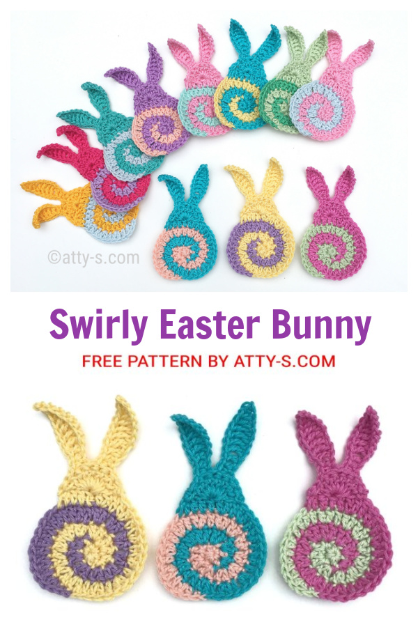 Swirly Easter Bunny Applique Free Crochet Patterns