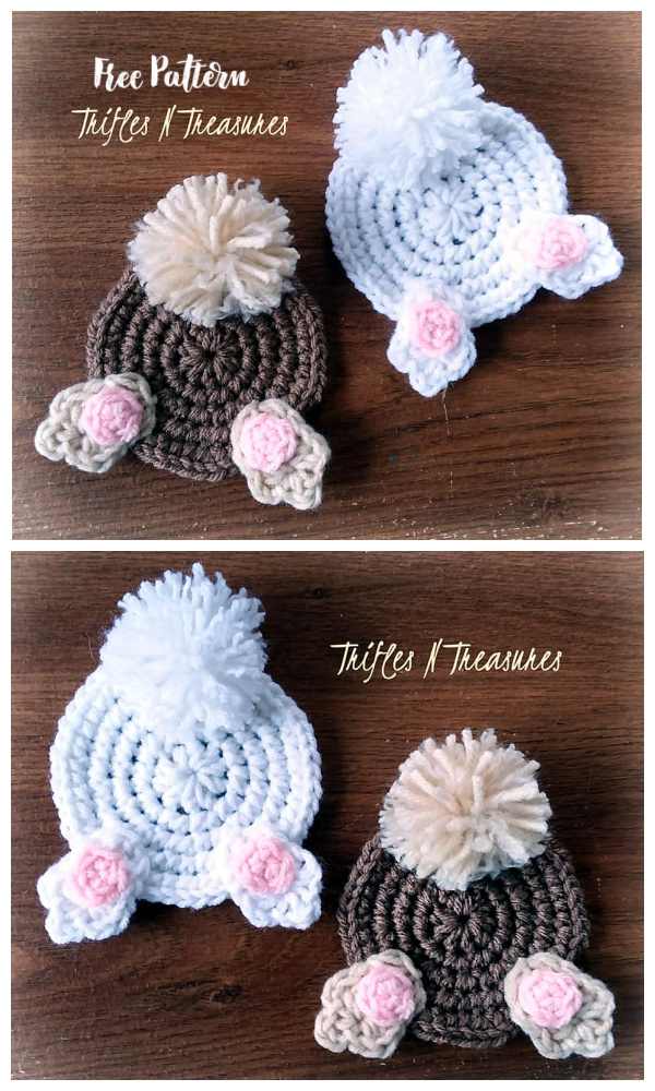 Easter Bunny Butt Coasters Free Crochet Patterns