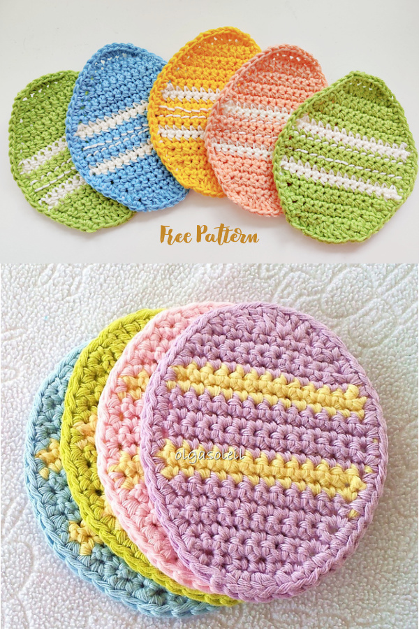 Easter Egg Coaster Free Crochet Patterns